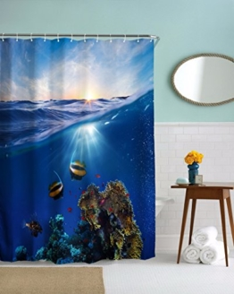 A.Monamour Blauen Ozean Meer Meer Leben Korallen Fisch Blauen Himmel Hellen Sonnenschein Landschaft Bild Drucken Textil Lange Verdicken Duschvorhang 180X180 Cm / 72X72 Zoll -