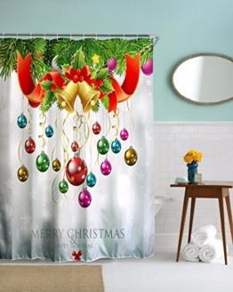 """A.Monamour Bunte Bälle Glocken Bänder Weihnachtsferien Dekorationen Klar Drucken Umweltfreundliche Wasserdichte Stoff Duschvorhang Für Bad 150X180 Cm / 60 """"X72"""" -"""