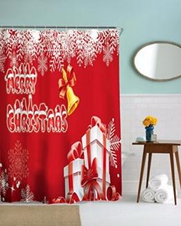 A.Monamour Feste Rote Hintergründe Frohe Weihnachten Urlaub Glocken Thema Schneeflocke Präsentiert Design Lange Verdicken Duschvorhang Mit Rostfreien Ösen 180X180 Cm / 72X72 Zoll -