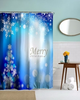 A.Monamour Frohe Weihnachten Urlaub Grüße Thema Blau Bokeh Fleck Schneeflocke Kunst Muster Drucken Schwere Pflicht Verdicken Textil Duschvorhang 180X180 Cm / 72X72 Zoll -