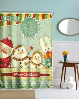 A.Monamour Frohe Weihnachten Urlaub Grüße Thema Schneemann Familie Polyester Wasserdichte Duschvorhang Für Kinder Kinder Bad 180X180 Cm / 72X72 Zoll -