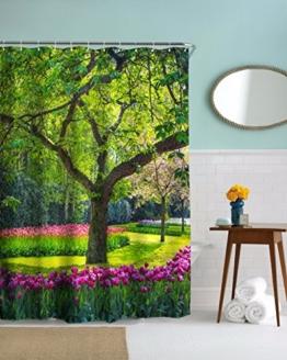 A.Monamour Große Grüne Baum Gras Rasen Tulpe Blumen Garten Bild Drucken Wasserdichte Stoff Duschvorhang Für Bad Dekorationen 180X180 Cm / 72X72 Zoll -