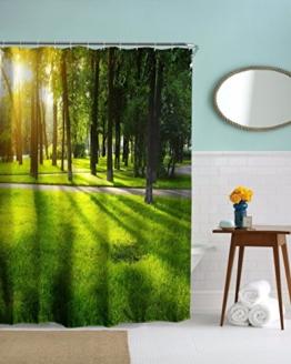 A.Monamour Helle Sonnenschein Grüne Gras Rasen Bäume Wald Morgen Zeit Landschaft Wasserdichte Stoff Duschvorhang Set Mit Haken 180X180 Cm / 72X72 Zoll -