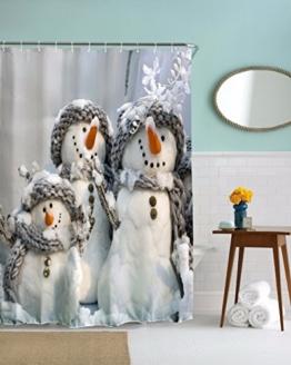 """A.Monamour Niedlichen Weißen Schneemann Familie Tragen Schal Wintersaison Weihnachten Urlaub Thema Grafikdruck Wasserdichte Duschvorhänge 150X180 Cm / 60 """"X72"""" -"""