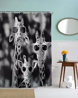 A.Monamour Schwarz-Weiß-Bild Bild Drucken Kühle Giraffen Mit Brille Lustige Muster Polyester Duschvorhang Für Tierliebhaber 180X180 Cm / 72X72 Zoll -