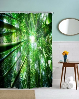 """A.Monamour Sonnenschein Durch Bambus Bäume Wald Grün Fotografie Bild Hintergründe Polyester Stoff Wasserdichte Duschvorhänge 150X180 Cm / 60 """"X72"""" -"""