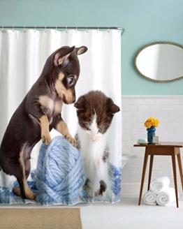 A.Monamour Weiße Hintergründe Haustiere Hund Katze Spielen Ball Von Garn Lustig Bild Druck Textil Wasserdichte Duschvorhang Für Bad Décor 180X180 Cm / 72X72 Zoll -