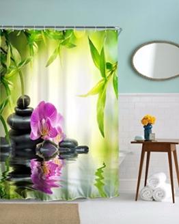 A.Monamour Yoga Meditation Zen Grüne Pflanzen Orchidee Blume Felsen Steine ??Wasser Natürliche Landschaft Drucken Umweltfreundliche Tuch Duschvorhang Bad Dekoration 180X180 Cm / 72X72 Zoll -