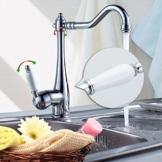 Auralum® 360 °Drehbar Elegant Verchromt Messing Küchenarmatur mit weiß Griff -