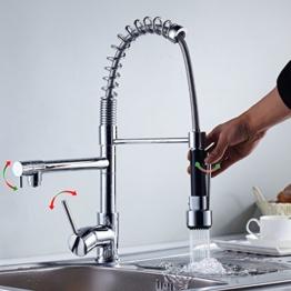 Auralum® 360° Drehung Küche Spültischarmatur Spiralfederarmatur Wasserhahn Messing Einhebelmischer Mischbatterie Armatur mit 2 Wasserabfluß -