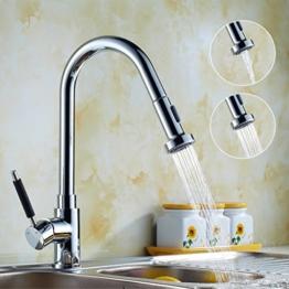 Auralum® 360° Schwenkbar Wasserhahn Messing Armatur Küche Einhandmischer Herausziehbare Küchenarmatur Verchromt -