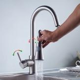 Auralum® 360° Wasserhahn Komplett aus Messing Oberflaeche Nickel gebürstet Armatur Küche Waschtischarmatur Einhandmischer Ausziehbare Geschirrbrause -