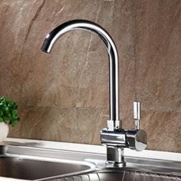 Auralum® Chrom Mischbatterie Küchenarmatur Wasserhahn Armatur Waschbecken Spüle Wasserfall für Küche Type A -