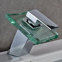 Auralum Glas Wasserhahn Waschbecken Armatur Waschtischarmatur LED RGB Licht und Modell Wählbar (Type A, mit LED RGB Licht) -