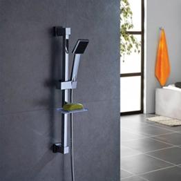 Auralum® Handbrause Set 8cm x 8cm Dusche Handbrause Duschkopf mit Seifenschale + Brausehalter + Brauseschlauch + Brausestange -