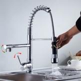 Auralum® Mordern Einhebel Waschtischarmatur Spültischarmaturen mit Küchenarmatur herausziehbarer Geschirrbrause Küche verchromt Armatur Mischbatterie Einhandhebelmischer Wasserhahn -