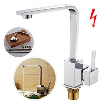 Auralum® Niederdruck 360° Drehbar Mischbatterie Armatur Wasserhahn Spültisch-Einhebelmischer für Spüle Küche -