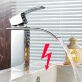 AuraLum® Niederdruck Waschtischarmatur Waterfall Wasserhahn Armatur Einhebelmischer Mischbatterie für Badezimmer Waschbecken mit Wassersparende Funktion -