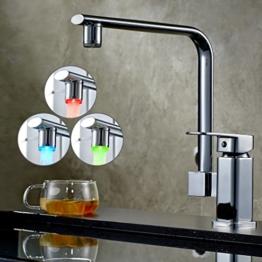 Auralum® RGB Messing Einhebel LED Wasserhahn Armatur Waschtischarmatur mit zwei Flexschläuchen für Küche Waschbecken (Typ E) -