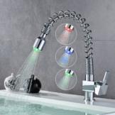 Auralum® RGB Messing Einhebel LED Wasserhahn Armatur Waschtischarmatur mit zwei Flexschläuchen für Küche Waschbecken (Typ D) -