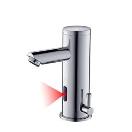Auralum® Sensor wasserhahn badezimmer Automatische Induktion Warmwasser und Kaltwasser von modernen Messing Waschbecken Wasserhahn Waschtischarmatur Handwaschbecken -