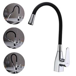 AuraLum Shwarz 360°Schwenkbar Einhebel Küchenarmaturen Küche Spültischarmatur Wasserhahn Einhandmischer Mischbatterie -