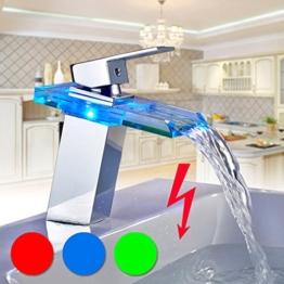 Auralum® TOP Design LED RGB Niederdruck Waschtischarmatur Glass Wasserhahn Armatur Waschtischarmatur für Badezimmer und Kinderzimmer 2 Jahre Garantie (Niederdruck) -