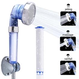 austor Double Carbonfaser und Ionic Filter Duschkopf Handbrause, 3 Way Spray [Neueste Version] -