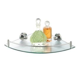 axentia Eckwandablage aus Glas mit verchromter Fassung - Eckregal Bad & WC - Eckablage zum Aufhängen - Eck-Glasregal - Badezimmer-Regal aus Chrom mit Glasablage klar - Badregal als Ablage, 50 cm -