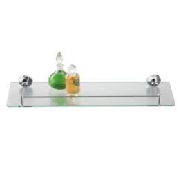 axentia Wandablage aus Glas mit verchromter Fassung als Badregal - Wandregal Bad & WC - Badablage für Spiegel & Waschbecken - Glasregal 50 cm - Badezimmer-Regal mit Reling aus Chrom & Glasablage klar -
