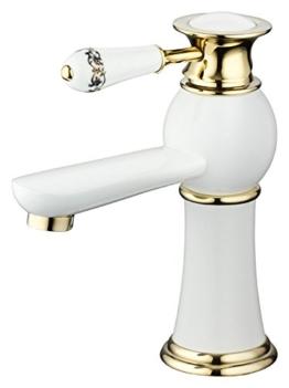 Bad Waschbecken Design Einhebel Armatur Wasserhahn Weiss Weiß Gold -