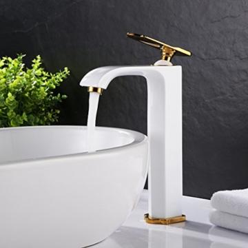 BONADE® Hohe Wasserhahn weiß Waschtischarmatur Mischbatterie Einhebelmischer Bad Armatur DHL -