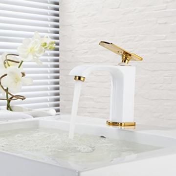 BONADE® Waschtischarmatur weiß Einhebelmischer Waschbecken Wasserhahn Badezimmer Armatur Bad -