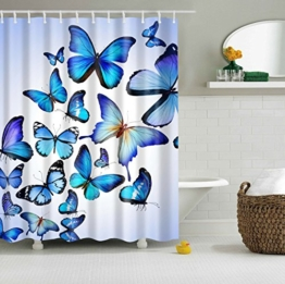 Colorfulword Digital Printed Antibacterial Mildew Proof 100% Polyester Fabric water resistant Shower Curtain Anti-Mould Washable,150*180cm (Blue Butterfly) -