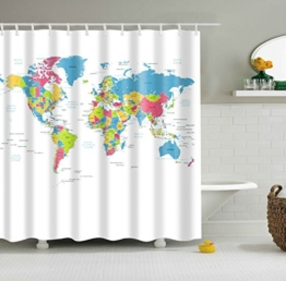 Colorfulword Digital Printed Antibacterial Mildew Proof 100% Polyester Fabric water resistant Shower Curtain Anti-Mould Washable,150*180cm (World map) -