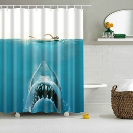 Colorfulworld Digital Printed Antibacterial Mildew Proof 100% Polyester Fabric water resistant Shower Curtain Anti-Mould Washable,150*180cm (Shark woman) -