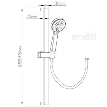 Design Dusch Set Brausegarnitur Komplett Set Handbrause Duschstange Duschschlauch Verchromt -