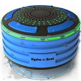 Duschradio – Hydro-Beat-Beleuchtung. IPX7 – vollständig wasserresistenter Bluetooth Radiolautsprecher mit LED- Beleuchtung. Aufladbar über Micro USB. (Blau und Schwarz) -
