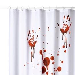 Duschvorhang, viele schöne Duschvorhänge zur Auswahl, hochwertige Qualität, inkl. 12 Ringe, wasserdicht, Anti-Schimmel-Effekt (Blood Hands, 180 x 180 cm) -