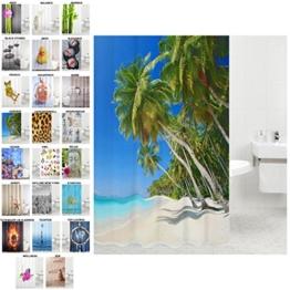 Duschvorhang, viele schöne Duschvorhänge zur Auswahl, hochwertige Qualität, inkl. 12 Ringe, wasserdicht, Anti-Schimmel-Effekt (Karibik, 180 x 180 cm) -