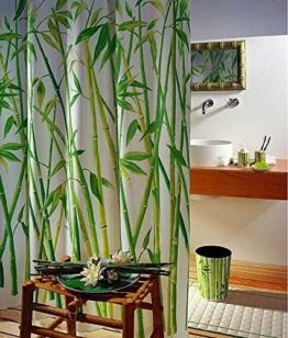 Duschvorhang Wannenvorhang Bambusmotiv Bamboo im Maß 180x180 cm -