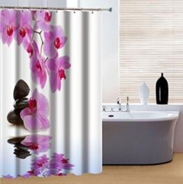 fourHeart 3D Blume und Stein Kunst Duschvorhang Wellness 180 x 200 cm, hochwertige Qualität, 100% Polyester, wasserdicht, Schimmel-Beweis, inkl. 12 Duschvorhangringe -