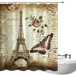 fourHeart 3D Digital Druck Wasserdichte Badevorhänge Paris Eiffel Tower Duschvorhang aus Polyester 180 x 200cm für Badezimmer -
