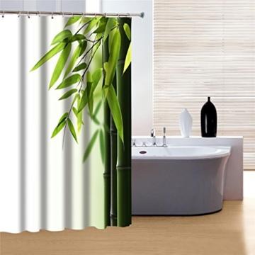 fourHeart Duschvorhang 180x180cm Bambus Wannenvorhang mit 12 Duschvorhangringe anti schimmel wasserdicht -