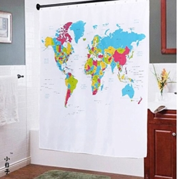 "fourHeart Duschvorhang Badewannenvorhang Weltkarte Atlas ""The World"" Maße 180 x 180cm incl. 12 Ringe -"