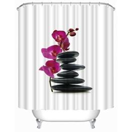 fourHeart Duschvorhang, viele schöne Duschvorhänge zur Auswahl, hochwertige Qualität, inkl. 12 Ringe, wasserdicht, Anti-Schimmel-Effekt (3D schwarze Steine und rot Orchidee, 180 x 180 cm) -