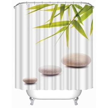 "fourHeart Duschvorhang Wannenvorhang Bambusmotiv Bamboo und ""STONES"" 180x180 cm incl. Ringe Vorhang -"