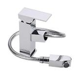 Glänzend mit Herausziehbarer Auslauf Waschtischarmatur Einhebelmischer-Waschtischbatterie Bad Armatur Wasserhahn für Waschbecken Eckig -