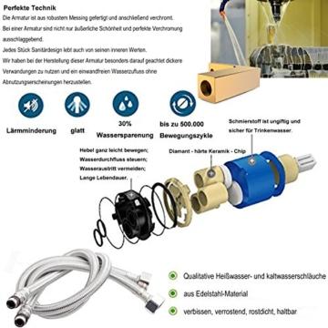 Glänzend Wasserfall Auslauf Waschtischarmatur Einhebelmischer-Waschtischbatterie Bad Armatur Wasserhahn für Aufsatzwaschbecken -