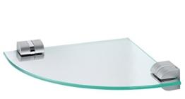 Glas-Eckablage / Badablage + kostenloser Versand / 3478 Tiger Cria Chrom Matt Badzubehör Set Serie Ablage, Waschbeckenablage, Glasablage, Glas Ablage, Spiegelablage, Kosmetikablage -